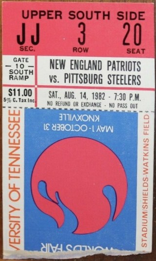 1982 Patriots vs Steelers Ticket Stub Worlds Fair Knoxville