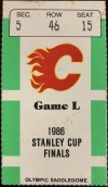 1986 Stanley Cup Final Game 1 ticket stub