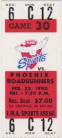 1990 IHL Flint Spirits ticket stub vs Phoenix