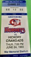 1993 Greensboro Hornets ticket stub vs Hickory Crawdads