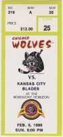 1995 IHL Chicago Wolves ticket stub vs Kansas City