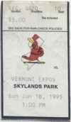 1995 New Jersey Cardinals ticket stub vs Vermont Expos
