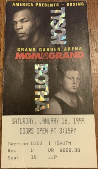 1999 Boxing ticket stub Mike Tyson vs Frans Botha 15.51