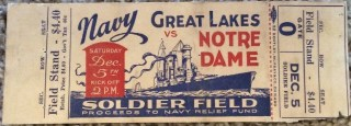 1942 Great Lakes Navy ticket stub vs Notre Dame