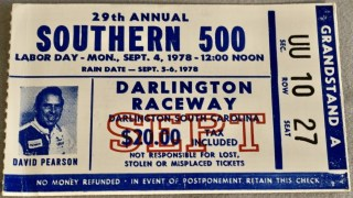 1978 Southern 500 Ticket Stub Cale Yarborough