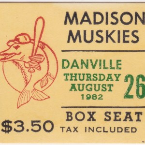 1982 Madison Muskies ticket stub
