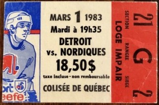 1983 Quebec Nordiques ticket stub vs Red Wings