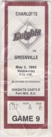 1990 Charlotte Knights ticket stub vs Greenville
