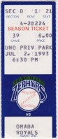 1993 New Orleans Zephyrs ticket stub vs Omaha