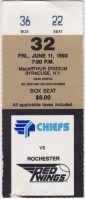 1993 Syracuse Chiefs ticket stub vs Rochester