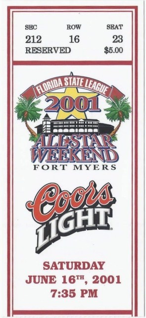 2001 Florida State League All Star Game ticket stub