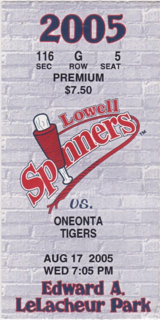 2005 Lowell Spinners ticket stub vs Oneonta