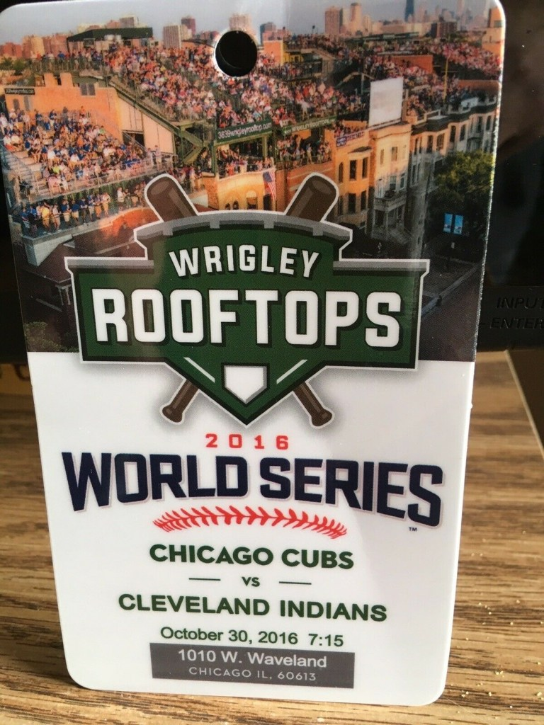 2016 World Series Wrigley Rooftops ticket stub