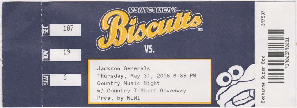 2018 Montgomery Biscuits ticket stub vs Jackson