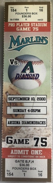 Hall of Famer Randy Johnson 3000th Strikeout Game Unused Ticket 10