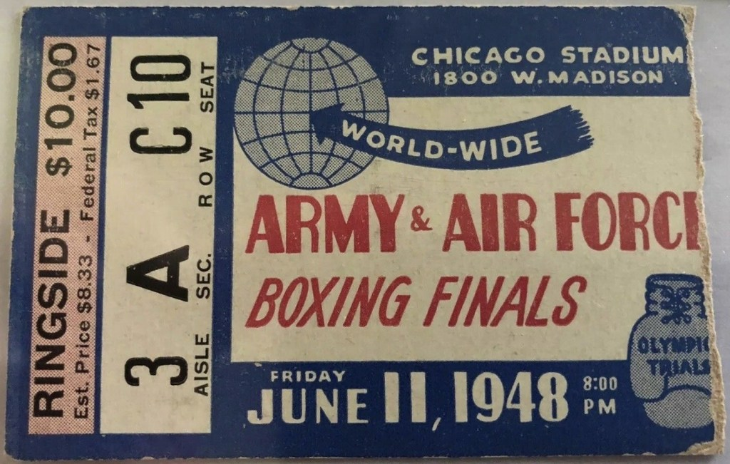 1948 Boxing Army vs Air Force ticket stub