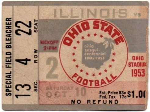 1953 NCAAF Ohio State ticket stub vs Illinois