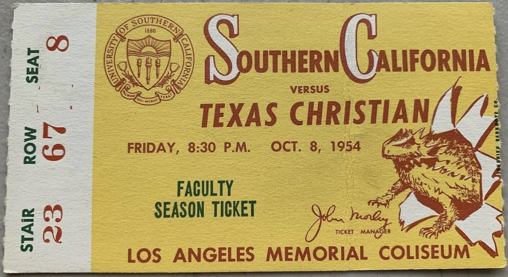 1954 NCAAF USC Faculty ticket stub vs TCU