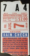 1959 Buffalo Bisons ticket stub vs Havana Sugar Kings