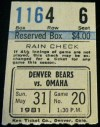 1981 Denver Bears ticket stub vs Omaha