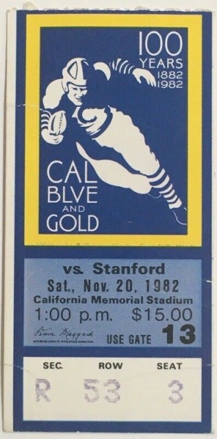 1982 Big Game ticket stub The Play 200