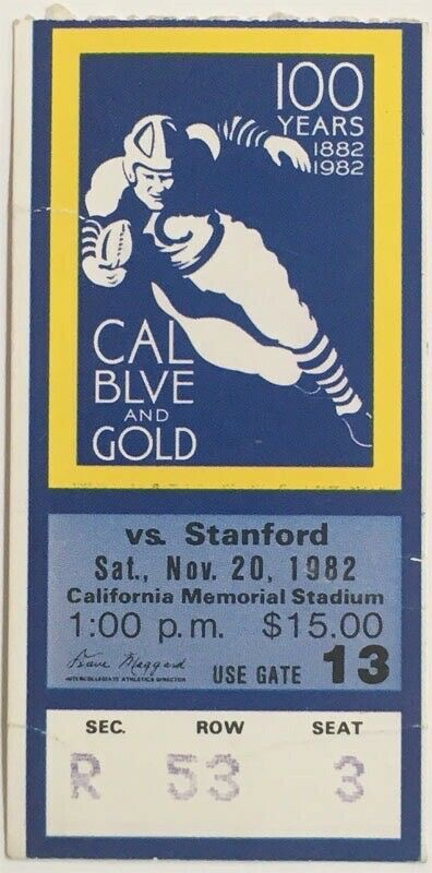 1982 NCAAF California vs Stanford ticket stub - The Play