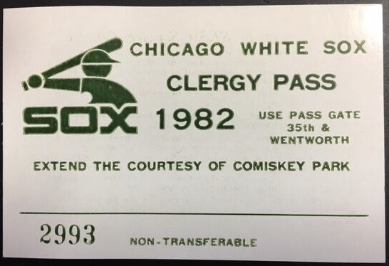 1982 Chicago White Sox Clergy Pass