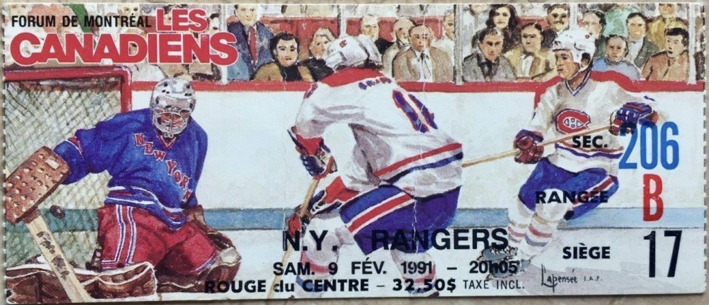 1991 Montreal Canadiens ticket stub vs Rangers