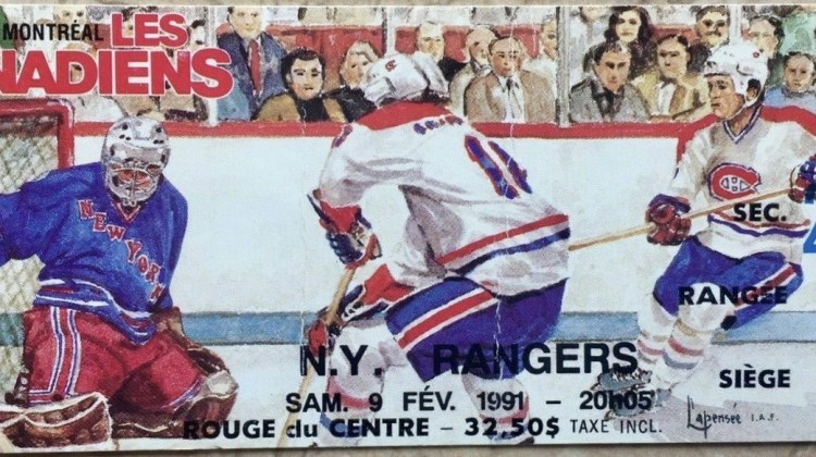 1991 Montreal Canadiens ticket stub vs Rangers