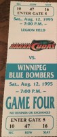 1995 CFL Birmingham Barracudas ticket stub vs Winnipeg