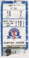 1995 Reading Phillies ticket stub vs Canton Akron