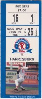 1995 Reading Phillies ticket stub vs Harrisburg