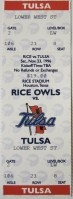 1996 NCAAF Rice Owls ticket stub vs Tulsa