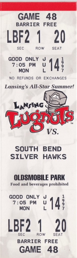 1997 Lansing Lugnuts ticket vs South Bend