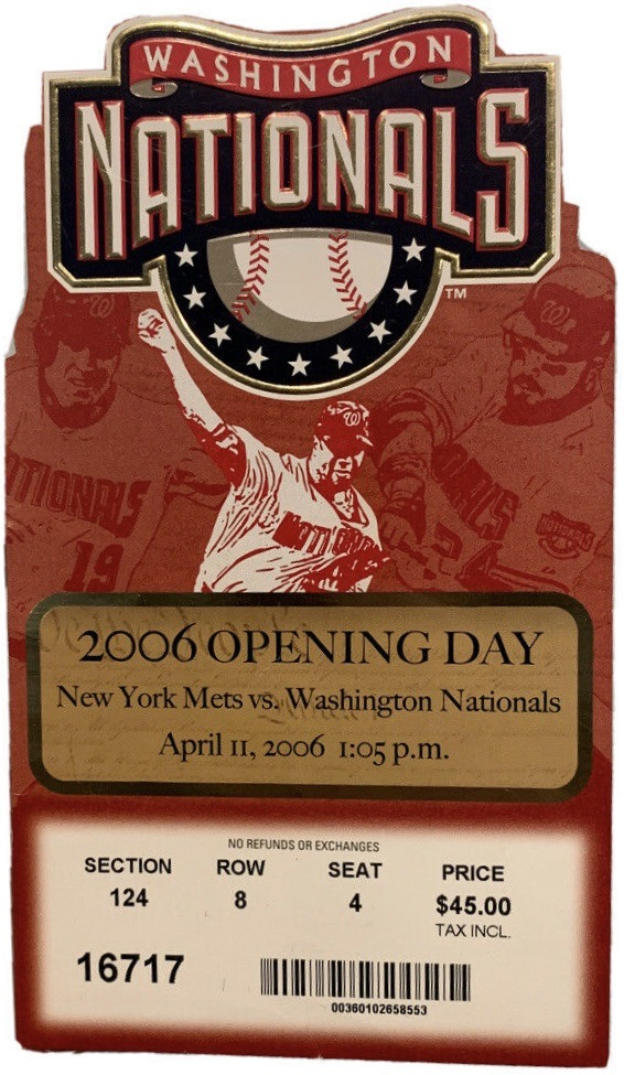 2006 Washington Nationals Opening Day ticket stub vs New York