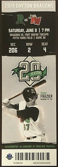 2019 Dayton Dragons ticket stub vs Ft. Wayne 9.75