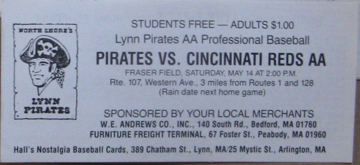 1983 Lynn Pirates ticket stub vs Cincinnati Reds