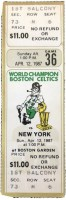 1987 Boston Celtics ticket vs Knicks