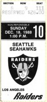 1988 Los Angeles Raiders ticket stub vs Seattle