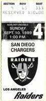 1989 Los Angeles Raiders ticket stub vs San Diego