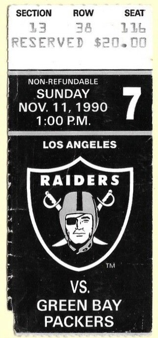 1990 Los Angeles Raiders ticket stub vs Green Bay