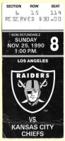 1990 Los Angeles Raiders ticket stub vs Kansas City