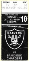 1990 Los Angeles Raiders ticket stub vs San Diego