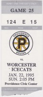 1995 Providence Bruins ticket stub vs Worcester