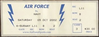 2002 NCAAF Air Force Falcons ticket stub vs Navy