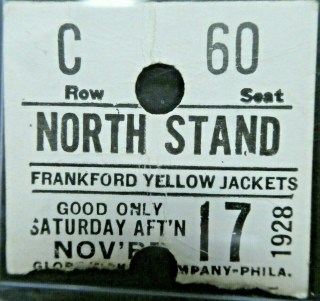 1928 Frankford Yellow Jackets ticket stub vs Providence 700