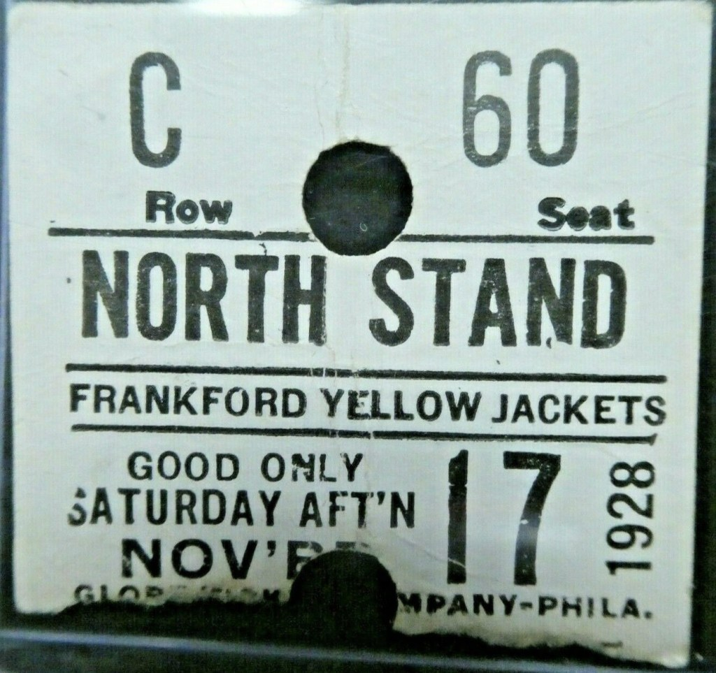 1928 Frankford Yellow Jackets ticket stub vs Providence