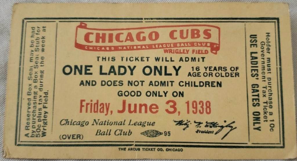 1938 Chicago Cubs One Lady Only ticket stub