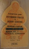 1949 Pittsburgh Pirates vs Albany Senators ticket stub