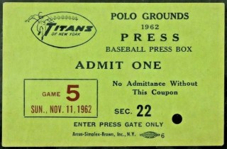 1962 New York Titans Football Game Press Pass1962 New York Titans Football Game Press Pass 500